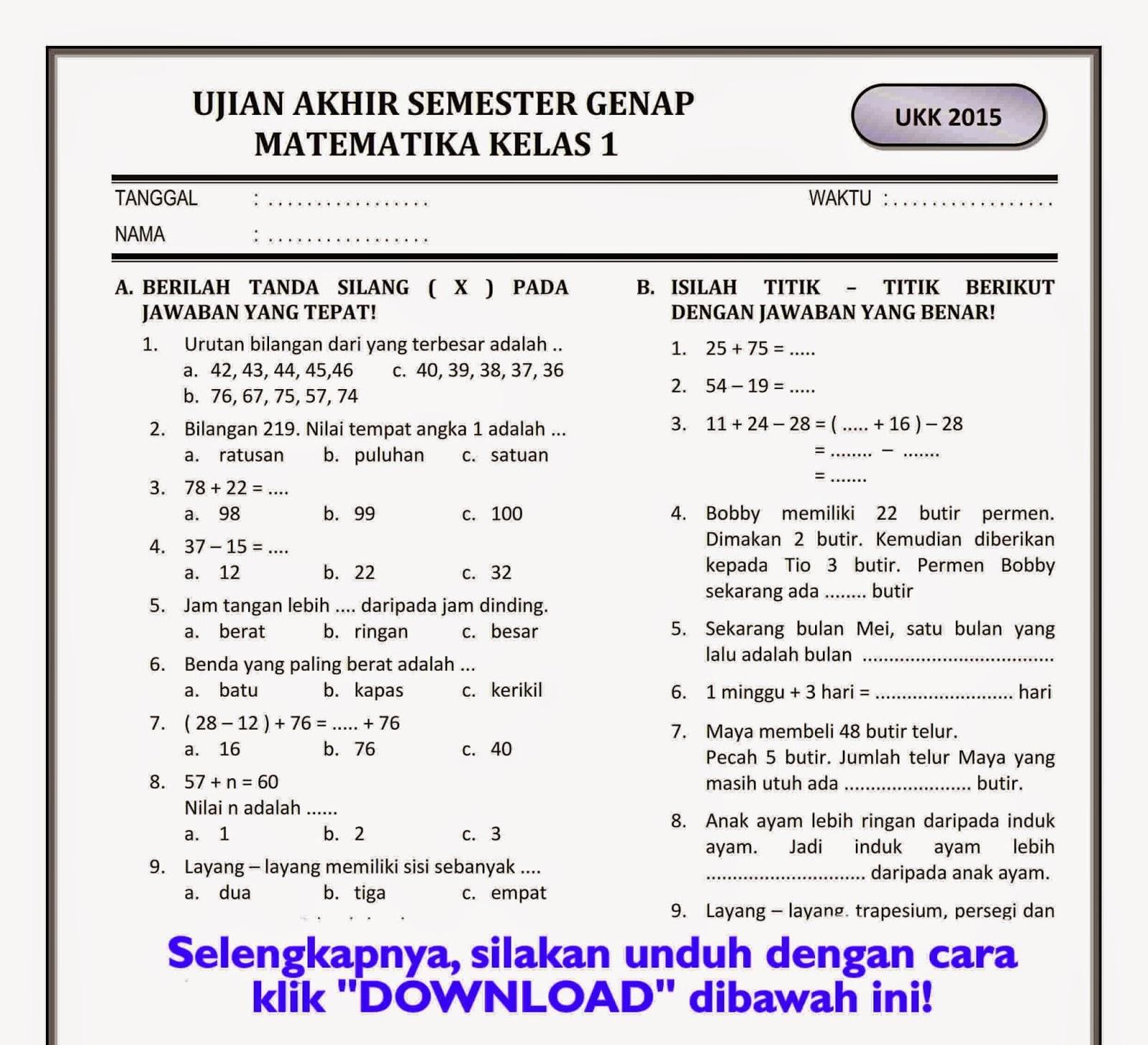 Contoh Soal Uas Matematika Kelas 1 Sd Semester 1