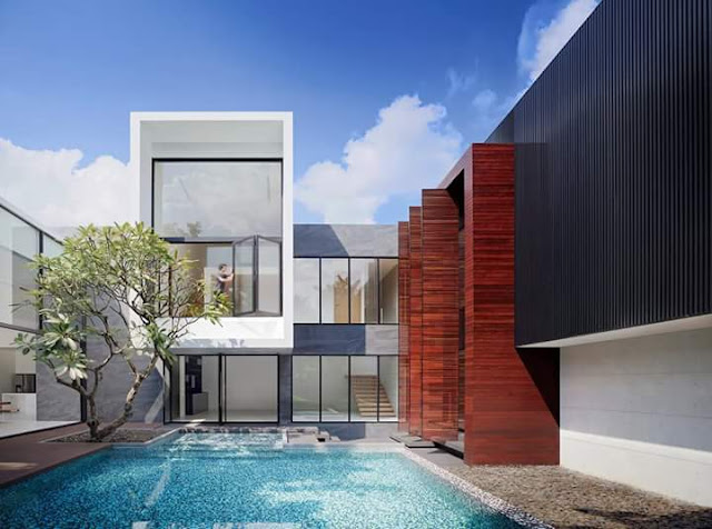 Inspirasi Teras Belakang Rumah dengan kolam renang