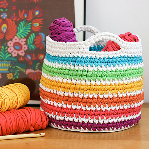 Rainbow Storage Basket  - Free Pattern