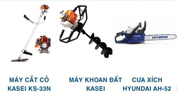 máy cắt cỏ, máy khoan đất, máy cưa xích