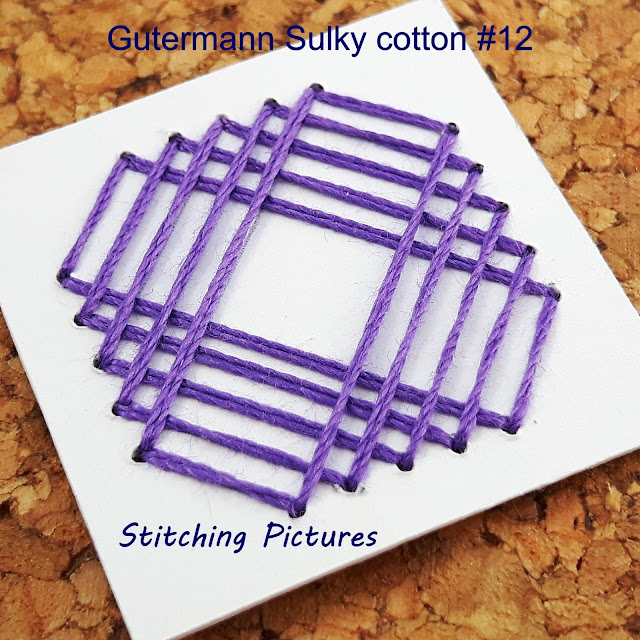 Stitching on card paper embroidery using Gutermann sulky cotton 12 threads.