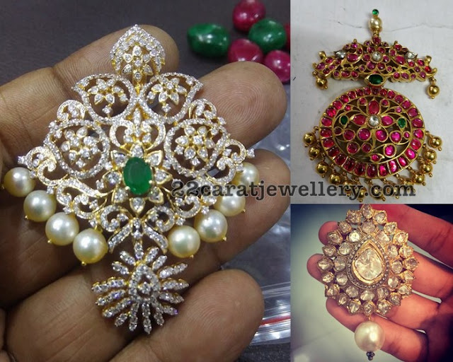 Regal Look Uncut Diamond Ruby Pendants