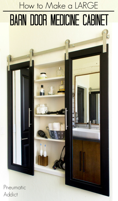 How to build and install an extra large custom medicine cabinet with DIY mirrored barn doors