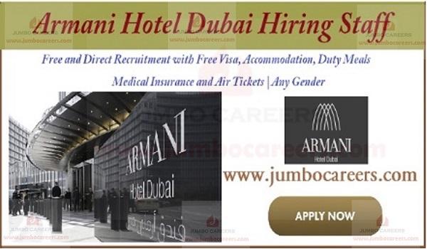 5 Star Armani Hotel Dubai Jobs with Free Visa, Air Tickets and Accommodation
