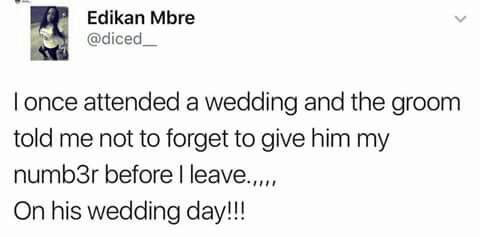 Girls claims a man asked for her number on HIS own wedding day