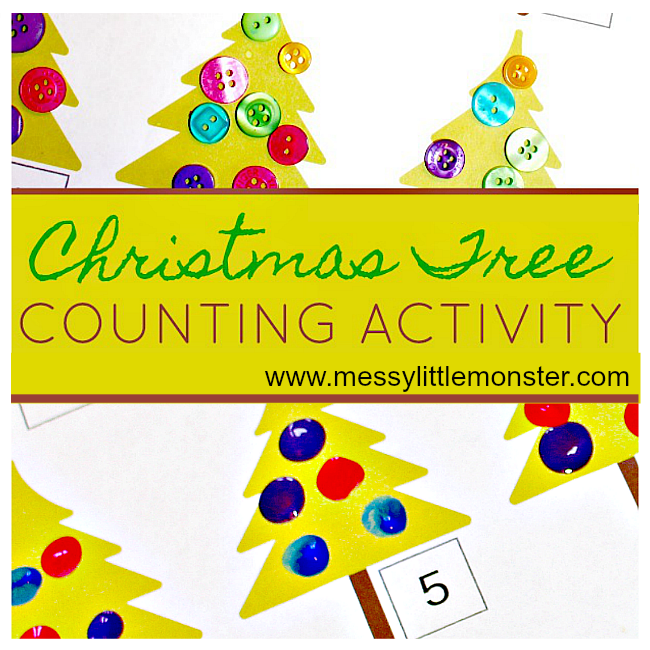 Free printable Christmas tree counting activity. A fun fingerprint counting idea for toddlers and preschoolers working on early counting and number recognition. Great for a Winter or Christmas project.