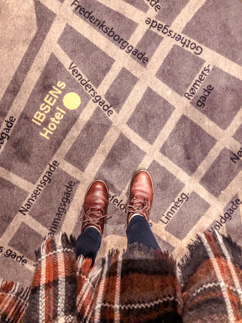 Lovely map carpet at Ibsens Hotel, Copenhagen