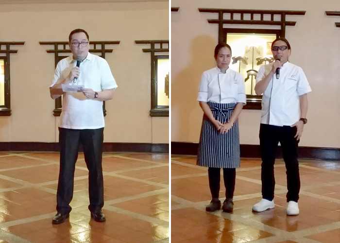 (R) Waterfront Insular Hotel Manager, Bryan Lasala   (L) Celebrity Chefs Jackie and Roland Laudico