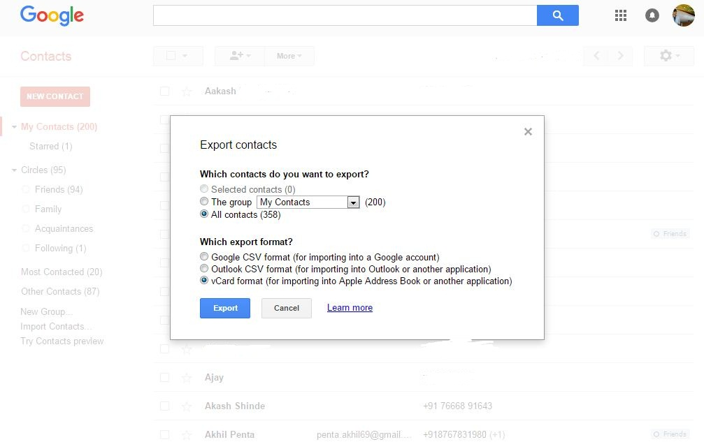 Export to vCard Google