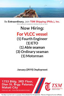 SEAMAN JOBS Hiring looking for an exceptional individual on VLCC vessel deployment January 2019 onliy for Filipino seaman crew.