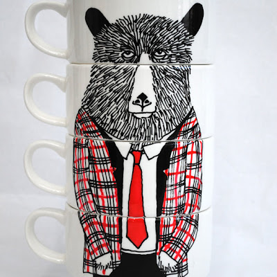 stacking coffee cups with bear wearing tweed jacket and a tie