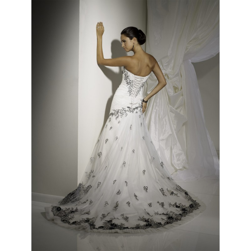 Black Wedding Gowns For Sale: Sleek White Wedding Dress With Corset Back Behind