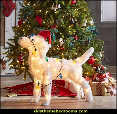 Pre-Lit Festive Dog  Rustic Christmas  decorating ideas - Christmas decorating ideas - Christmas decor - Christmas decorations - Christmas kitchen decor - santa belly pillows - Santa Suit Duvet covers - Christmas bedding - Christmas pillows - Christmas  bedroom decor  - winter decorating ideas - winter wonderland decorating - Christmas Stockings Holiday decor Santa Claus - decorating for Christmas - 3d Christmas cards - xmas tree decor