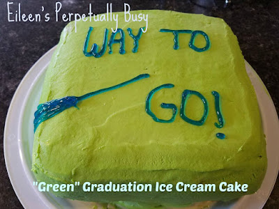 Blog With Friends, a monthly group blogging collaboration based on a theme. March's theme is Green   Green Graduation Ice Cream Cake by Eileen of Eileen's Perpetually Busy   Featured on www.BakingInATornado.com