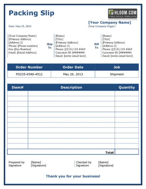 Packing List Format Template In Excel - Excel Template - packing slip format