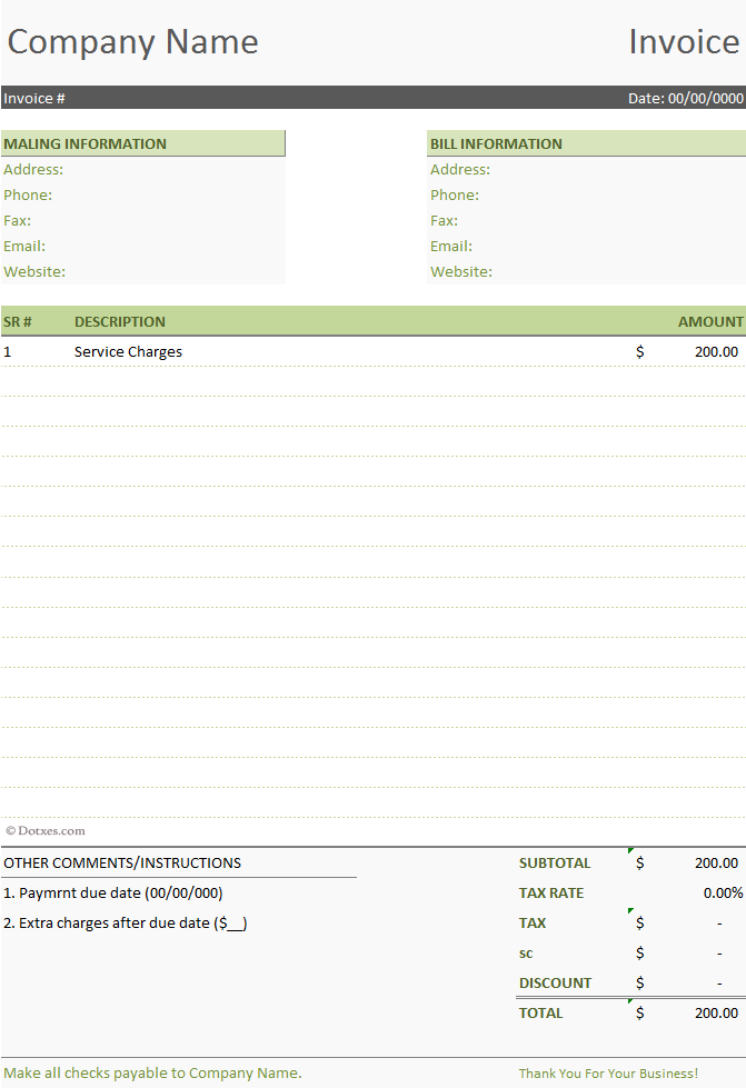 simple invoice word doc – notators, Invoice examples