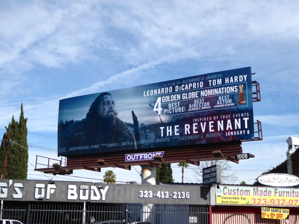 The Revenant Golden Globe nominations billboard