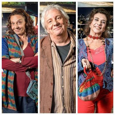 Em 'A Dona do Pedaço', Eusébio (Marco Nanini) é casado com Dodô (Rosi Campos), à esquerda, e é filho de Cornélia (Betty Faria), à direita — Foto: TV Globo/João Miguel Jr.