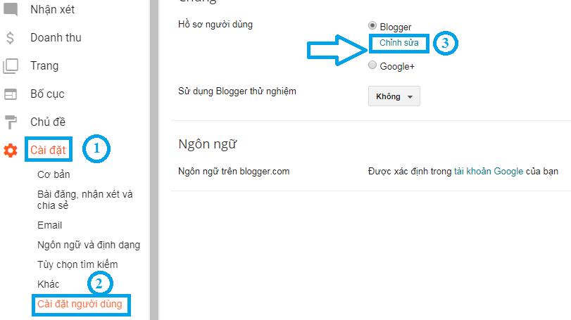 Chuyển hồ sơ người dùng sang Blogger để tiến hành chỉnh sửa thông tin