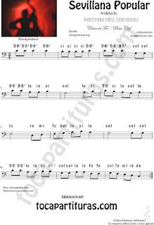 Partitura con Notas en Letra Sevillana Popular fácil para instrumentos en Clave de FA en 4ª línea para trombón, chelo, fagot, bombardino... Easy Bass Clef Sheet Music with Notes Name