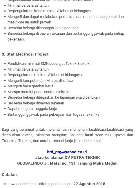 Lowongan Kerja Aceh Februari 2013 Terbaru Info Lowongan Kerja 2016 Terbaru Ngantor Lowongan Kerja Resmi Cv Putra Teknik Globalindo