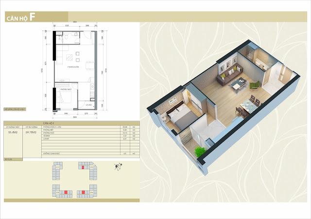 Thiết kế căn hộ loại F: 2 phòng ngủ, 1 vệ sinh 55m2 thông thủy