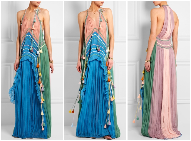 2016 SS Chloe Ruffled Silk Rainbow Gown