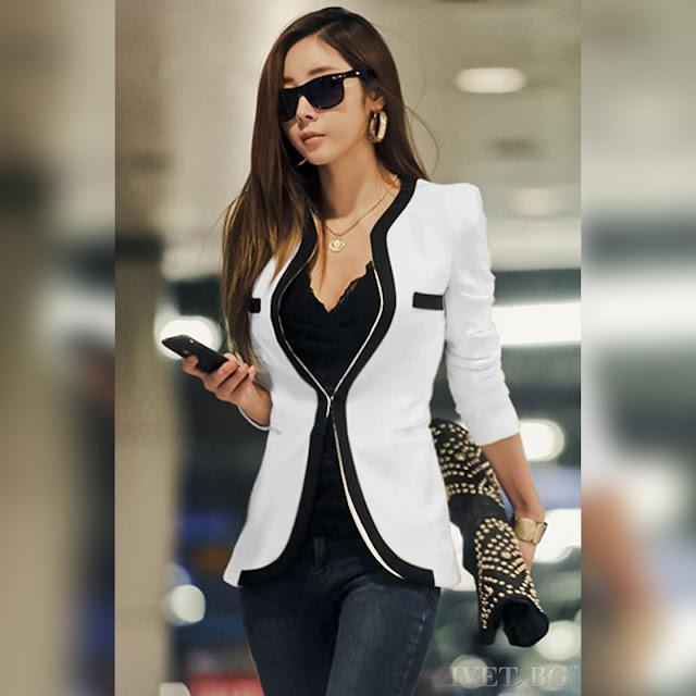 Γυναικείο άσπρο με μαύρο σακάκι MOOD WHITE
