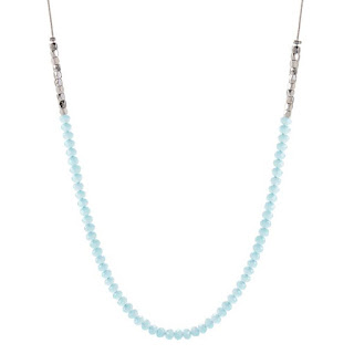"32-34"" Silver Aqua Beaded Chain available at StoriedCharms.com"