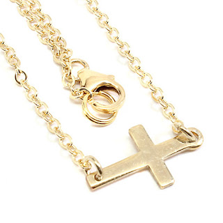 gold filled horizontal cross necklace