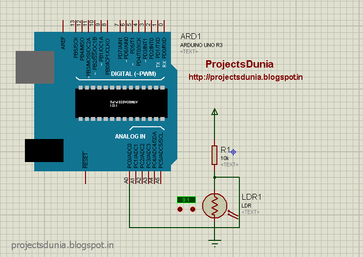 circuit diagram of LDR interfacing with arduino