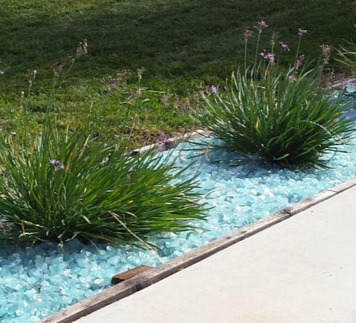 Blue Glass Mulch Landscaping Ideas
