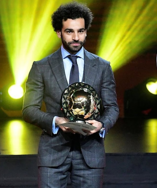 Salah Beats Mane and Aubameyang To Clinch CAF Player Of The Year For The Second Time In A Roll .