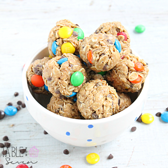 Monster Cookie Granola Bites: Table for Seven