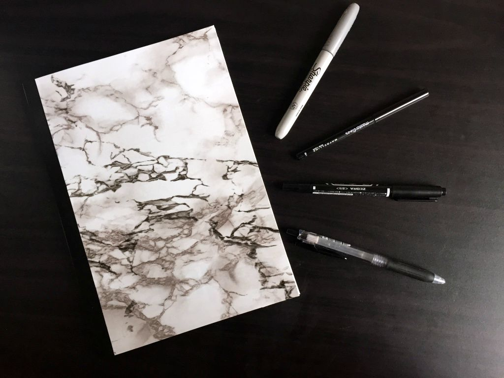Cat Eyes And Glitter Bombs Diy Marble Notebook