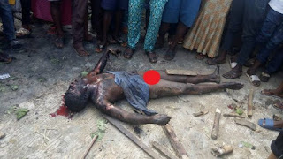 Suspected Badoo Cult Member Burnt To Death This Morning in Aga, Ikorodu (Graphic Photo)