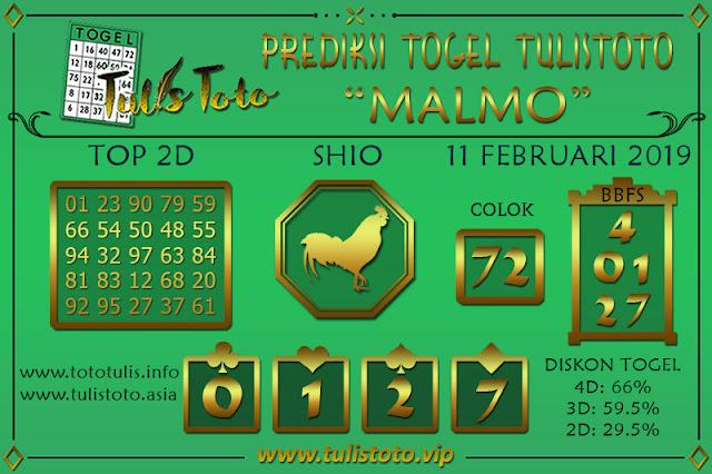 Prediksi Togel MALMO TULISTOTO 11 FEBRUARI 2019