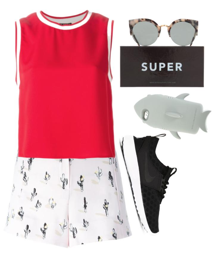cactus shorts red tank top kenzo designer farfetch.com nike shoes sunglasses