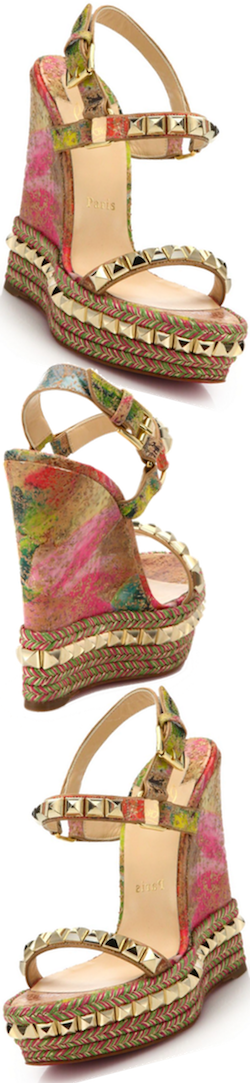 Christian Louboutin Pyramid-Studded Cork Espadrille Wedge Sandals