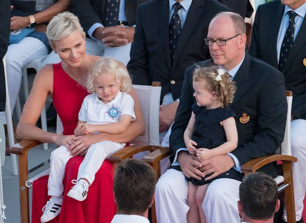 Prince Albert, Princess Charlene, Princess Gabriella and Prince Jacques. Princess Charlene wore Roland Mouret one shoulder silk dress