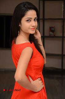 Telugu Actress Divya Nandini Stills in Orange Sleeveless Gown at Chennai Chaitrama Movie le Launch Event  0028.JPG