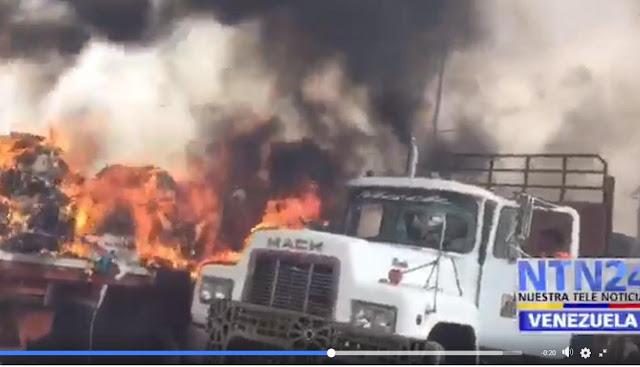 Venezuela: queman camiones con ayuda humanitaria en la frontera con Colombia
