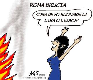 autobus incendiato, atac, raggi, roma, vignetta, satira