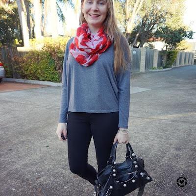 awayfromtheblue instagram poppy print fashion scarf girl scarf nobody denim skinny jeans balenciaga part time