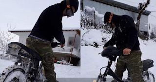 Καρδίτσα: Η Πατέντα Με Τις Βίδες Για Να Κυκλοφορούν Τα Μηχανάκια Στο Χιόνι [Βίντεο]