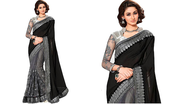 A AND V FASHION Embroidered Fashion Georgette, Net Saree  (Black, Grey)