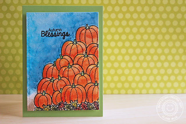 Sunny Studio Stamps: Harvest Happiness Autumn Blessings Fall Pumpkin Card by Eloise Blue