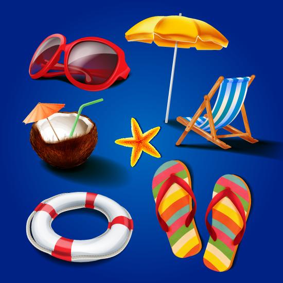 Iconos de Verano, Piscina y Playa