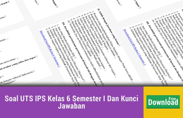 Soal UTS IPS Kelas 6 Semester I Dan Kunci Jawaban