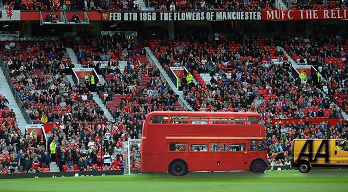 Bus-parked-in-front-of-goal-at-Old-Trafford-with-AA-van-ready-to-tow-it